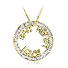 $19.99 - 1/8 Carat Diamond Love, Laugh, Live Pendant in 18K Gold Over Sterling Silver