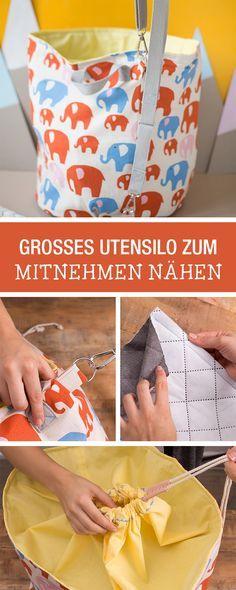 Nähanleitung für ein großes Utensilo zum Mitnehmen / sewing pattern for a big utensilo via DaWanda.com
