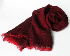 Pure Linen Scarf - Organic Linen Scarf - Unisex Natural Linen Scarf - Burgundy Red Linen Scarf    Perfect for the Valentines Day!    ✽ Size: approx
