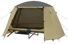 Ozark Trail One-Person Cot Tent is an incredibly affordable collapsible sleeping system with a huge bed and a two-layer tent attached to it. Tent Cot, Huge Bed, Trekking, Camping Shelters, Kayaking Gear, Cool Tents, Ozark Trail, Camping Equipment, Outdoor Gear