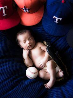 www.nickievansphotography.com, Houston photographer, Katy TX photographer, newborn portraits, baby boy, newborn photo ideas, sports themed portraits, baby with baseball caps, baby portraits sports, Houston Astros, Texas Rangers