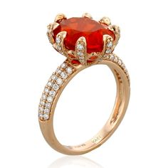 Check out this Red Dragon Fire Opal ring in 18k rose gold ring by Yael Designs. It features an oval 3.97 ct. fire opal, beautifully held in place by 8 diamond-set prongs, with rows of round diamonds down the shank and red spessartite accents.  Happy birthmonth, October girls! www.diamonds.pro