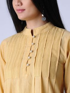 Yellow Surface Textured Handloom Khadi Kurta