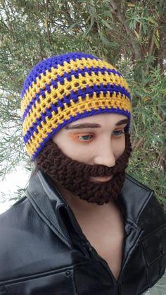 Purple and Gold Beard Beanie w/ detachable beard by HolyNoggins, $35.00