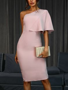 Solid One Shoulder Cape Bodycon Dress We Miss Moda is a leading Women's Clothing Store. Offering the newest Fashion and Trending Styles. Modest Dresses, Tight Dresses, Simple Dresses, Cute Dresses, Dresses For Work, Sexy Dresses, Dresses Dresses, Formal Dresses, One Shoulder Dress Long