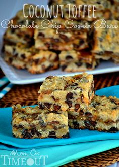 Coconut Toffee Chocolate Chip Cookie Bars | MomOnTimeout.com