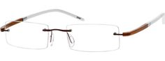 Unisex Brown 1900 Rimless Metal Alloy Frame With Acetate Temples | Zenni Optical Glasses-Mr0AJzI8