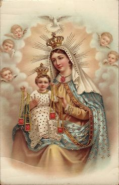 """Glossy full-color print of """"Our Lady of Mt. Carmel"""" vintage postcard image suitable for framing. A Full of Grace USA Original Product Printed on Sterling Premium photo paper (made in U. Religious Pictures, Jesus Pictures, Religious Icons, Religious Art, Blessed Mother Mary, Blessed Virgin Mary, Image Jesus, Lady Of Mount Carmel, Religion"""