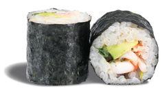 MAKI AVOCAT CREVETTE  - rouleau de riz enroulé de nori et garni de crevettes ; wasabi mayo et avocat