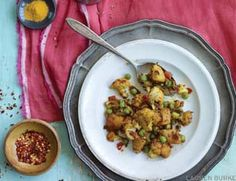 Spicy Cauliflower, Peas and Potatoes.  Bob and i eat this just about every time we go to the Indian Restaurant we enjoy