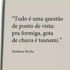 """""""Tudo é uma questão de ponto de vista: pra formiga, gota de chuva é tsunami.""""  - Matheus Rocha"""