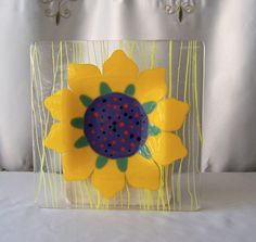 Art Glass Fusion Glass Sun Flower Plate Home Decor