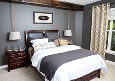 love these matching hanging bedstand lights. so cute and sophisticated.