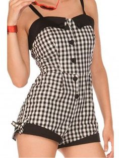 """Women's """"Gingham"""" Playsuit by Voodoo Vixen (White) -pinned for pattern idea Vintage Bathing Suits, Vintage Dresses, Nice Dresses, Vintage Outfits, Diy Fashion, Retro Fashion, Vintage Fashion, Fashion Outfits, Vintage Beauty"""