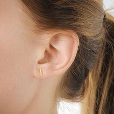 balance flat bar stud earrings, gold dipped