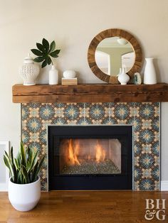 If your fireplace is in need of a facelift, find inspiration to get started from these makeovers. These remarkable fireplace makeovers and remodels feature new mantels, fabulous surrounds, fireplace tools, and cozy hearths. Decor, Interior, Home Fireplace, Fireplace Design, Home Decor, Farmhouse Fireplace, Remodel Bedroom, Fireplace Decor, Fireplace