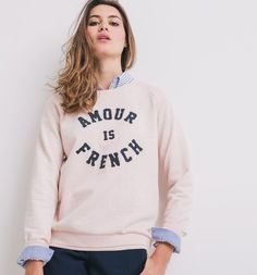 Sweat-shirt à message Femme orange clair - Promod