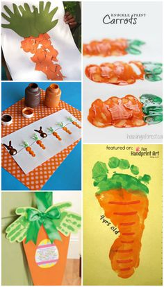 If you're looking for fun Easter activities to do with the kids, here are 10 different carrot crafts made with handprints and footprints. These carrot crafts are also great for a food or vegetable unit. Easter Crafts For Toddlers, Easter Activities, Craft Activities For Kids, Toddler Crafts, Preschool Crafts, Infant Crafts, Spring Crafts, Holiday Crafts, Carrot Craft