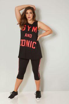 YOURS ACTIVE Black 'Gym & Tonic' Slogan Vest Top, Plus size 16 to 32 Gym Slogans, Gym And Tonic, Plus Size Vests, Top P, Size 16, Camisole Top, Clothes, Collection, Black