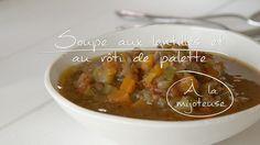 Soupe aux lentilles et au rôti de palette à la mijoteuse Slow Cooker Recipes, Soup Recipes, Healthy Recipes, Healthy Foods, Quebec, Pork Loin, Freezer Meals, Soups And Stews, Crockpot