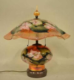1991 Charles Lotton Multi Flora Table Lamp, Peach with Pink Flowers & Green Leaves. Late 20th Century Art Glass Lamp.