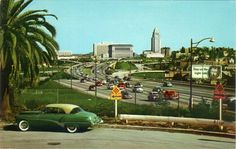 Vintage Los Angeles, City Hall in the distance. Los Angeles County, Los Angeles California, Southern California, Los Angeles Area, Downtown Los Angeles, Old Pictures, Old Photos, Colorized History, Usa Street