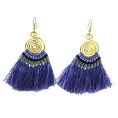 Tribal Spiral Tassel Earrings - Lavender - Global Groove (J)