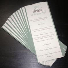 wedding reception menus