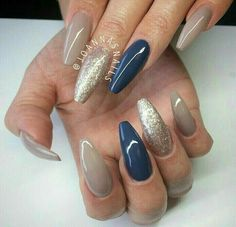 Nude and navy nails