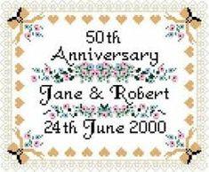 wedding anniversary cross stitch - Google Search Wedding Cross Stitch Patterns, Wedding Anniversary, Wedding Gifts, Engagement, Google Search, Weddings, Wedding Cross Stitch, Marriage Anniversary, Wedding Day Gifts
