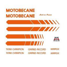 Motobecane Bicycle Frame Stickers - Decals - Transfers, Orange n.512 | eBay
