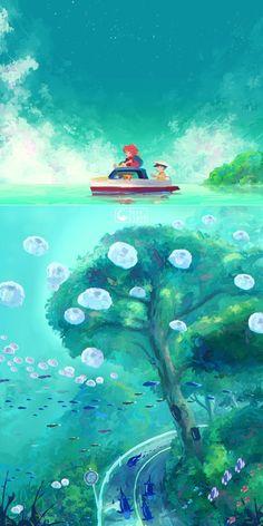 """'Ponyo' some more ghibli fanart! Studio Ghibli Art, Studio Ghibli Movies, Anime Kunst, Anime Art, Animes Wallpapers, Cute Wallpapers, Personajes Studio Ghibli, Studio Ghibli Background, Japon Illustration"
