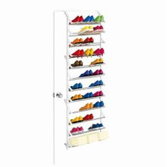 The 36 Pair Over Door Shoe Rack is an over-the-door rack with an impressive capacity. It holds up to 36 pairs right on unused space behind a free door. Over The Door Organizer, Door Shoe Organizer, Door Storage, Over Door Shoe Rack, Shoe Racks, Hanging Shoe Rack, Dorm Room Doors, Shoe Rack Organization, Organization Station