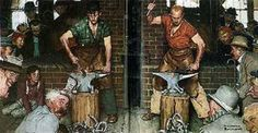 Horseshoe Forging Contest 1978 by Norman Rockwell