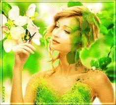 Шатенка с длинными волосами, собранными в прическу держит на пальце бабочку на фоне цветущих веток яблони, by Олечка