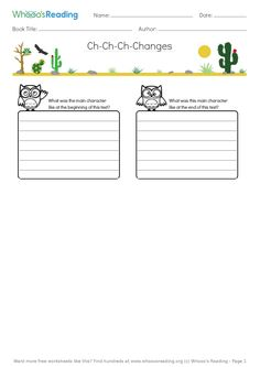Students will describe how one of the main characters changed from the beginning to the end of their text. Literacy Worksheets, Book Title, Students, Author, Characters, Change, Reading, Books, Free