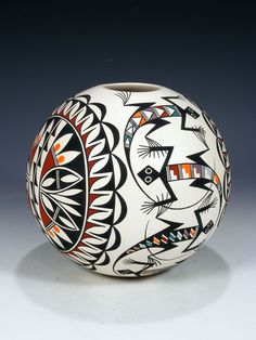 Acoma Pueblo Pottery - folk art inspiration for card style Native American Design, Native American Pottery, Native American Crafts, Native American Artists, American Indian Art, American Indians, Southwest Pottery, Southwest Art, Southwest Style