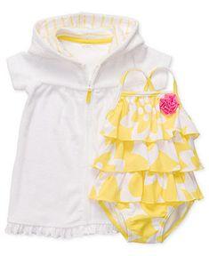 Carter's Baby Swimwear, Baby Girls One-Piece Ruffle Swimsuit with Hooded Cover-Up - Kids Newborn Shop - Macy's
