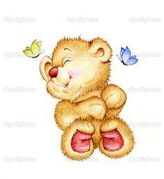 милый плюшевый медведь и бабочки