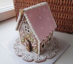 . Gingerbread House Patterns, Gingerbread Village, Gingerbread Cookies, Pink Christmas, Christmas Baking, Christmas Cookies, Xmas, Lollipop Cake, Ginger House