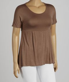 Loving this Brown Empire-Waist Top - Plus on #zulily! #zulilyfinds