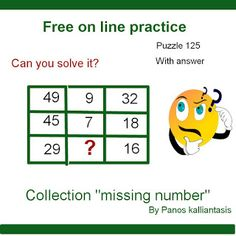 Brain teasers and puzzles: Puzzle 125-missing number-By Panos Kalliantasis Brain Teasers With Answers, Missing Number, Puzzles, Numbers, This Or That Questions, Collection, Puzzle, Riddles, Numeracy