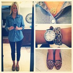great outfit    {denim+pixie pants+ leopard} (Taken with Instagram)