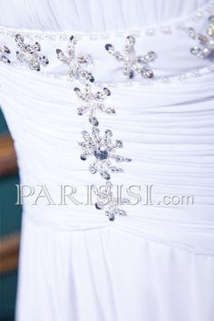 vestidos de novia  Imperio Elegante Acanalada Cremallera Blanco Sin Mangas Hasta Suelo Barrer Gasa Sin tirantes