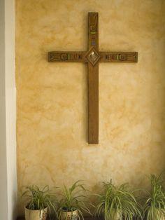 Cross On Adobe Wall, Cuenca, Ecuador