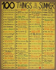 100 cosas que hacer en el verano. Haz tu Propia Lista - 100 things to do in the summer. Make Your Own List Things To Do When Bored, 100 Things To Do, Fun Things, Sleepover Things To Do, Things To Do With Your Boyfriend, Crafts To Do When Your Bored, Couples Things To Do, Couple Things, Day Camp