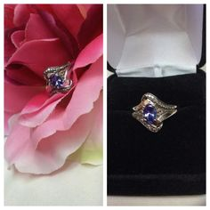 Tanzanite n Diamonds set in 10k White Gold Tanzanite n Diamonds set in 10k White Gold, .30 ctw tanzanite, approximate size 5.5, plenty of gold in band for jeweler to resize if necessary. ADD TO A BUNDLE!  20% BUNDLE DISCOUNT Jewelry Rings