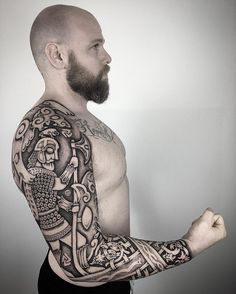 "718 Likes, 30 Comments - Sean Parry (@sacred_knot_tattoo) on Instagram: ""Warrior Of Odin. After 4 days and a few thousand dots, it is complete. Timo, you sat like a rock!…"""