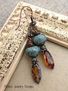 Welcome to Andria Bieber Designs! Copper, glass lampwork, Czech glass and metal earrings. Rustic Jewelry, Bohemian Jewelry, Luxury Jewelry, Metal Jewelry, Bohemian Fashion, Modern Fashion, Irish Jewelry, Jewelry Case, Glass Jewelry