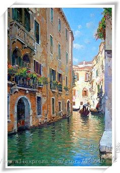 Oil painting Landscape Awesome - Oil painting Dark - - Oil painting For Beginners Learning - Oil painting Videos Fish - Oil painting Portrait Antique Venice Painting, Italy Painting, China Painting, Painting Flowers, Oil Painting Abstract, Watercolor Paintings, Italian Paintings, Italy Landscape, Venice Canals